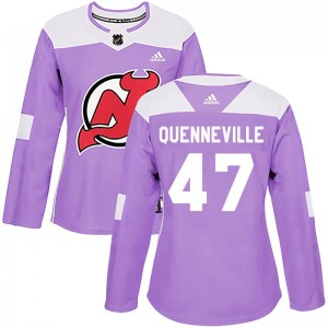 John Quenneville New Jersey Devils Women's Adidas Authentic Purple Fights Cancer Practice Jersey