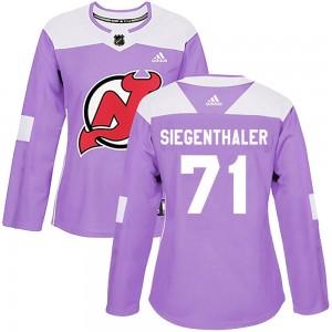 Jonas Siegenthaler New Jersey Devils Women's Adidas Authentic Purple Fights Cancer Practice Jersey