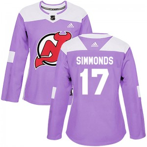 Wayne Simmonds New Jersey Devils Women's Adidas Authentic Purple Fights Cancer Practice Jersey