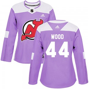 Miles Wood New Jersey Devils Women's Adidas Authentic Purple Fights Cancer Practice Jersey