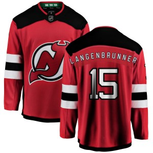 Jamie Langenbrunner New Jersey Devils Youth Fanatics Branded Red New Jersey Home Breakaway Jersey