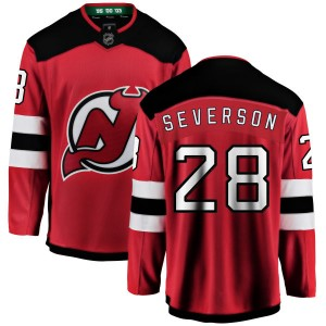 Damon Severson New Jersey Devils Youth Fanatics Branded Red New Jersey Home Breakaway Jersey