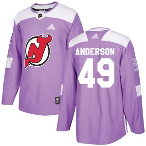 Joey Anderson New Jersey Devils Youth Adidas Authentic Purple Fights Cancer Practice Jersey