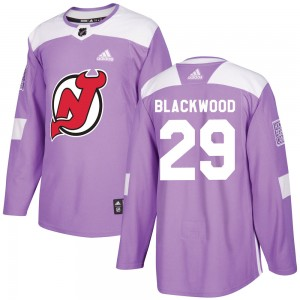 MacKenzie Blackwood New Jersey Devils Youth Adidas Authentic Purple Mackenzie Blackwood Fights Cancer Practice Jersey
