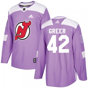 A.J. Greer New Jersey Devils Youth Adidas Authentic Purple Fights Cancer Practice Jersey