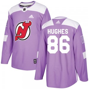 Jack Hughes New Jersey Devils Youth Adidas Authentic Purple Fights Cancer Practice Jersey