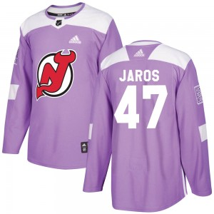 Christian Jaros New Jersey Devils Youth Adidas Authentic Purple Fights Cancer Practice Jersey