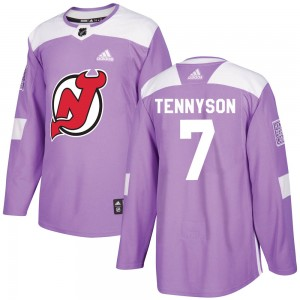 Matt Tennyson New Jersey Devils Youth Adidas Authentic Purple ized Fights Cancer Practice Jersey