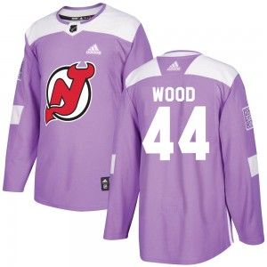 Miles Wood New Jersey Devils Youth Adidas Authentic Purple Fights Cancer Practice Jersey