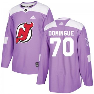Louis Domingue New Jersey Devils Men's Adidas Authentic Purple Fights Cancer Practice Jersey