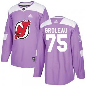 Jeremy Groleau New Jersey Devils Men's Adidas Authentic Purple Fights Cancer Practice Jersey