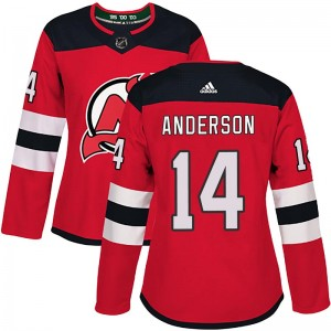 Joey Anderson New Jersey Devils Women's Adidas Authentic Red Home Jersey