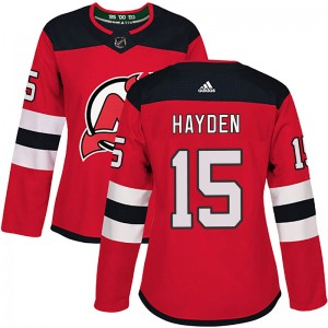 John Hayden New Jersey Devils Women's Adidas Authentic Red Home Jersey