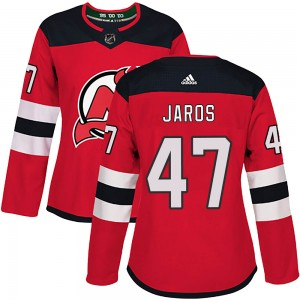 Christian Jaros New Jersey Devils Women's Adidas Authentic Red Home Jersey