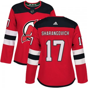 Yegor Sharangovich New Jersey Devils Women's Adidas Authentic Red Home Jersey