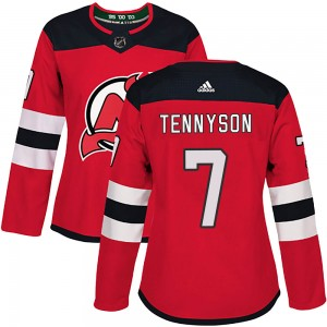 Matt Tennyson New Jersey Devils Women's Adidas Authentic Red ized Home Jersey