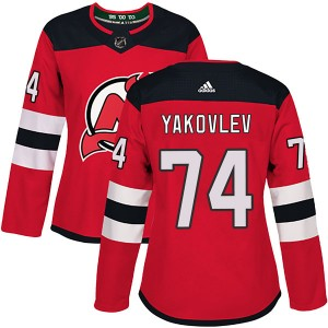 Egor Yakovlev New Jersey Devils Women's Adidas Authentic Red Home Jersey