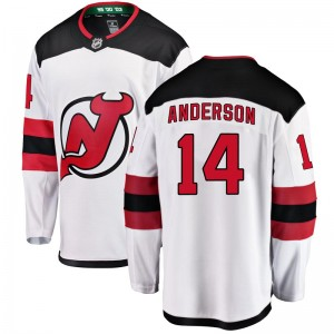 Joey Anderson New Jersey Devils Men's Fanatics Branded White Breakaway Away Jersey