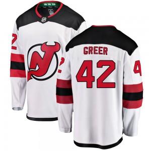A.J. Greer New Jersey Devils Youth Fanatics Branded White Breakaway Away Jersey