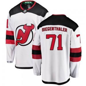 Jonas Siegenthaler New Jersey Devils Youth Fanatics Branded White Breakaway Away Jersey