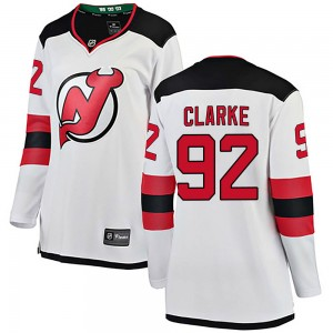 Graeme Clarke New Jersey Devils Women's Fanatics Branded White Breakaway Away Jersey