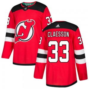 Fredrik Claesson New Jersey Devils Youth Adidas Authentic Red ized Home Jersey