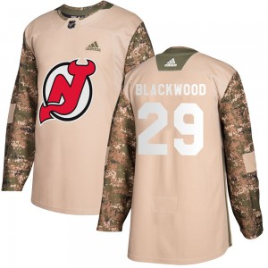 MacKenzie Blackwood New Jersey Devils Men's Adidas Authentic Black Mackenzie wood Camo Veterans Day Practice Jersey