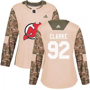 Graeme Clarke New Jersey Devils Women's Adidas Authentic Camo Veterans Day Practice Jersey