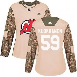 Janne Kuokkanen New Jersey Devils Women's Adidas Authentic Camo ized Veterans Day Practice Jersey