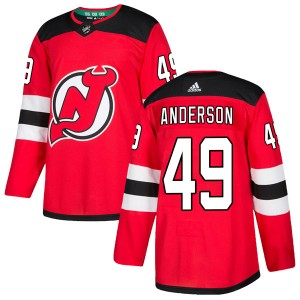 Joey Anderson New Jersey Devils Men's Adidas Authentic Red Home Jersey