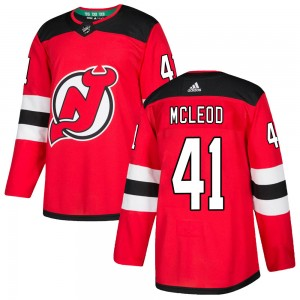 Michael McLeod New Jersey Devils Men's Adidas Authentic Red ized Home Jersey