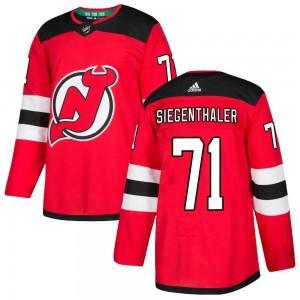 Jonas Siegenthaler New Jersey Devils Men's Adidas Authentic Red Home Jersey