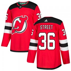Ben Street New Jersey Devils Men's Adidas Authentic Red Home Jersey