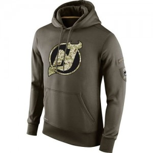 New Jersey Devils Men's Nike Olive Salute To Service KO Performance Hoodie