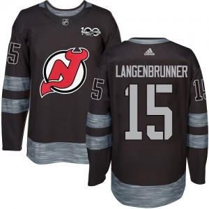 Jamie Langenbrunner New Jersey Devils Men's Adidas Authentic Black 1917-2017 100th Anniversary Jersey