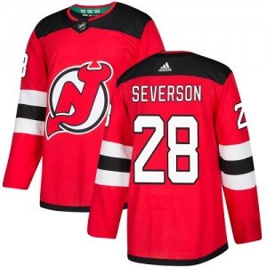 Damon Severson New Jersey Devils Youth Adidas Authentic Red Home Jersey