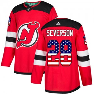 Damon Severson New Jersey Devils Men's Adidas Authentic Red USA Flag Fashion Jersey