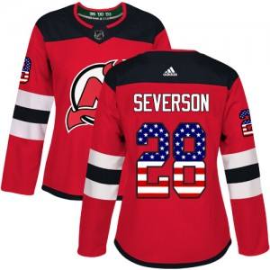 Damon Severson New Jersey Devils Women's Adidas Authentic Red USA Flag Fashion Jersey