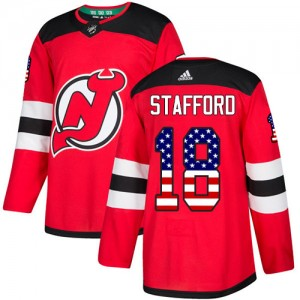 Drew Stafford New Jersey Devils Men's Adidas Authentic Red USA Flag Fashion Jersey