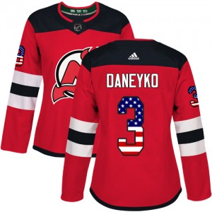 Ken Daneyko New Jersey Devils Women's Adidas Authentic Red USA Flag Fashion Jersey