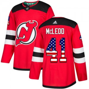Michael McLeod New Jersey Devils Men's Adidas Authentic Red USA Flag Fashion Jersey