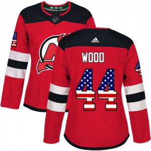 Miles Wood New Jersey Devils Women's Adidas Authentic Red USA Flag Fashion Jersey