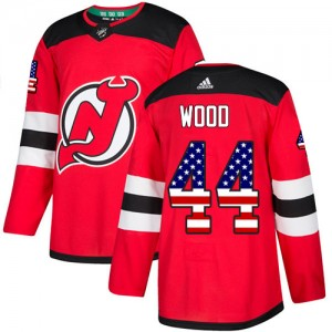 Miles Wood New Jersey Devils Youth Adidas Authentic Red USA Flag Fashion Jersey