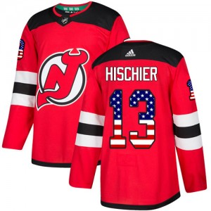 Nico Hischier New Jersey Devils Men's Adidas Authentic Red USA Flag Fashion Jersey