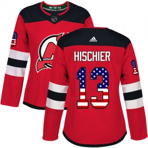 Nico Hischier New Jersey Devils Women's Adidas Authentic Red USA Flag Fashion Jersey