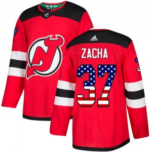Pavel Zacha New Jersey Devils Men's Adidas Authentic Red USA Flag Fashion Jersey