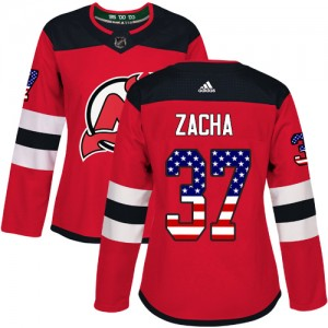 Pavel Zacha New Jersey Devils Women's Adidas Authentic Red USA Flag Fashion Jersey