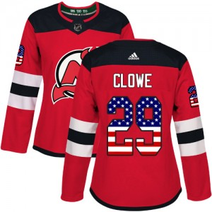 Ryane Clowe New Jersey Devils Women's Adidas Authentic Red USA Flag Fashion Jersey