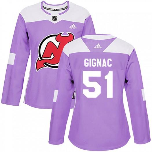 Brandon Gignac New Jersey Devils Women's Adidas Authentic Purple Fights Cancer Practice Jersey