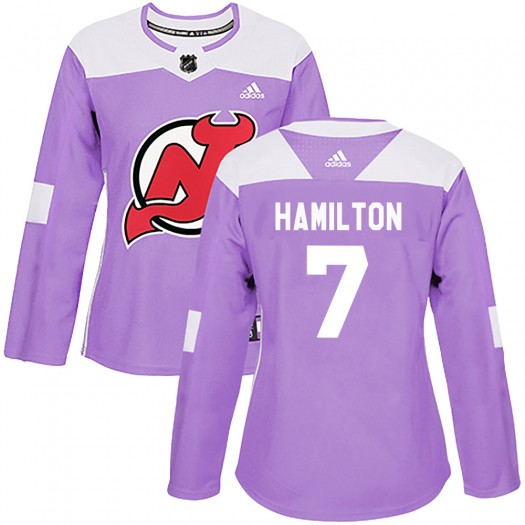 Dougie Hamilton New Jersey Devils Women's Adidas Authentic Purple Fights Cancer Practice Jersey